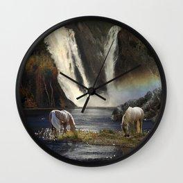 Waterfall Fantasy Herd Wall Clock