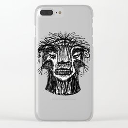 Fantasy Monster Head Drawing Clear iPhone Case