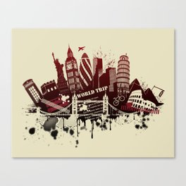 figures on international sites in grunge illustration Canvas Print