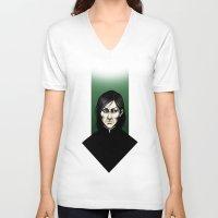snape V-neck T-shirts featuring Severus Snape  by Fatma Sahem