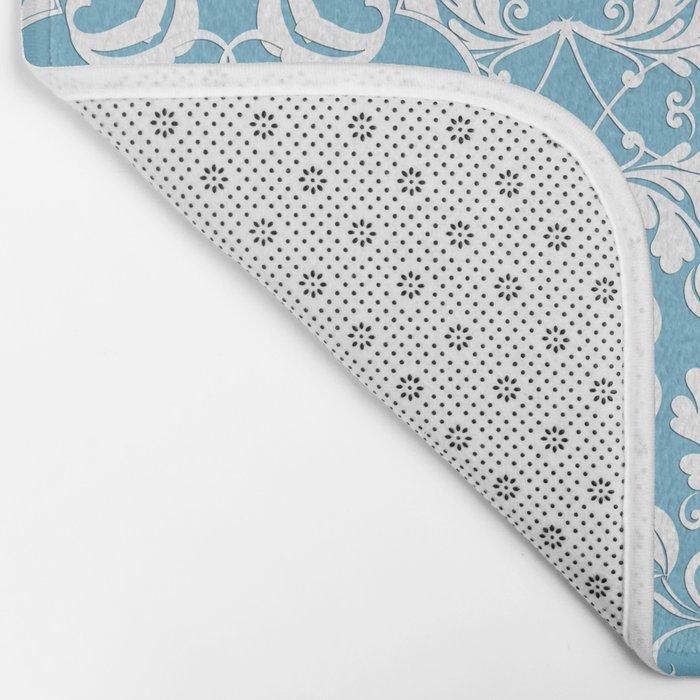 Blue Leaf Lace Bath Mat