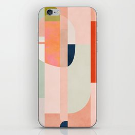 shapes modern mid-century peach pink coral mint iPhone Skin