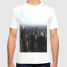 New York Skyline White MEDIUM Mens Fitted Tee