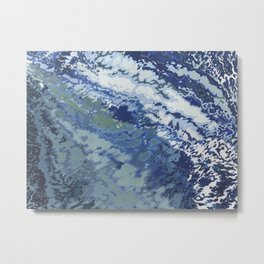 Deep Blue Ocean Wake Metal Print