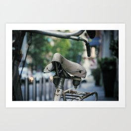 Old white bicycle in a little alley in the center of Milan Art Print