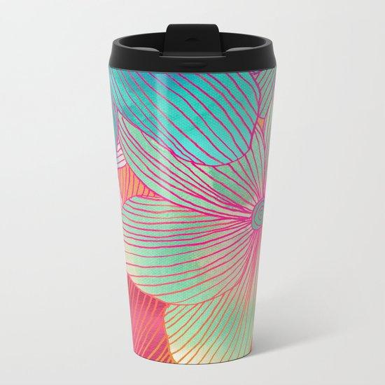 Between the Lines - tropical flowers in pink, orange, blue & mint Metal Travel Mug