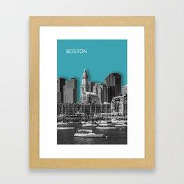 BOSTON Skyline | Graphic Art | turquoise Framed Art Print