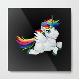 Rainbow Unicorn Gift Idea Design Motif Metal Print