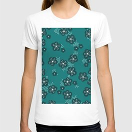 Hello spring Japanese cherry blossom love teal T-shirt