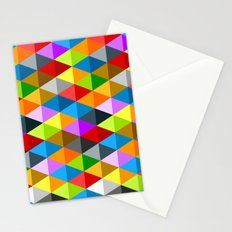 Modern bright funky colorful triangles pattern Stationery Cards