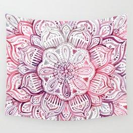 Burgundy Blush Watercolor Mandala Wall Tapestry
