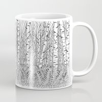 birch Mugs featuring Birch Trees Black and White Illustration by Vermont Greetings