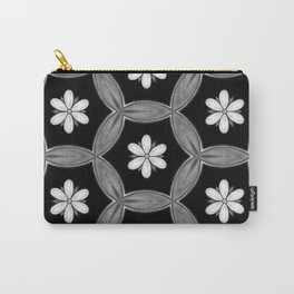 black and white hippie flower pattern Carry-All Pouch