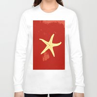 seashell Long Sleeve T-shirts featuring red seashell by gzm_guvenc