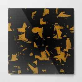 Looking For Gold - Abstract gold and black painting Metal Print