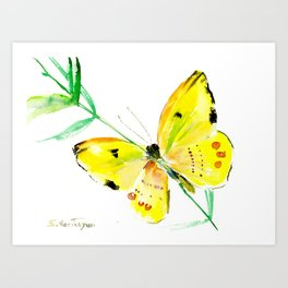Yellow Butterfly, children butterfly decor kids room, girls room yellow decor butterfly art Art Print