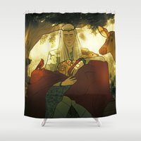 thranduil Shower Curtains featuring Thranduil meets Bambi by rdjpwns