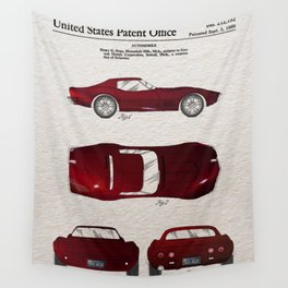 Sport car Patent color Wall Tapestry