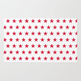 Red stars on white pattern Rug