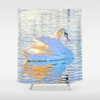 swan Shower Curtains featuring Swan by Gouzelka
