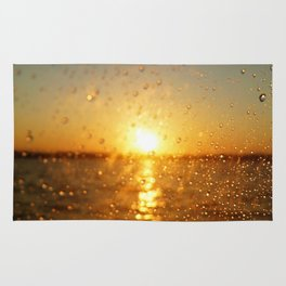 Sunset Glass Water Drops Color Photo Rug