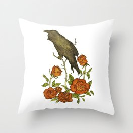 Of Ravens and Roses Throw Pillow