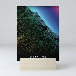Rimini, Italy, City, Map, Rainbow, Map, Art, Print Mini Art Print