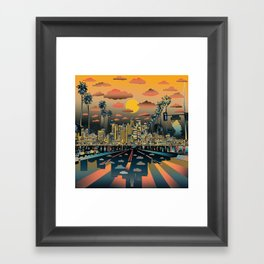 los angeles city skyline Framed Art Print