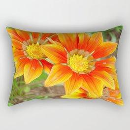 Vibrant Yellow and Vermillion Gazania Rigens Flower Rectangular Pillow