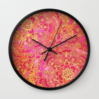 baroque Wall Clocks featuring Hot Pink and Gold Baroque Floral Pattern by micklyn