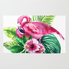 watercolor illustration of a pink flamingo with tropical castings and flowers Rug