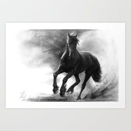 Horse in Storm - GRAPHITE DRAWING Art Print