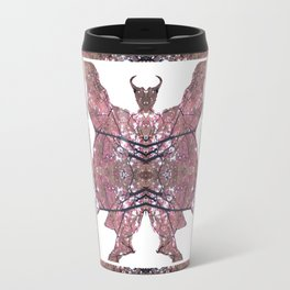 Horned Man V2 cut from Tree Leaf Photo 801 Fractal, with wings and hoofed feet. Travel Mug