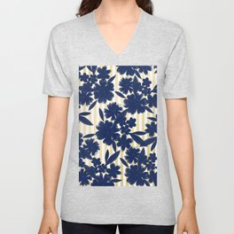 Geometric white yellow navy blue watercolor floral Unisex V-Neck