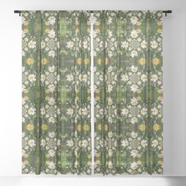 Magic Field Summer Grass - Chamomile Flower with Bug - Polarity #1 Sheer Curtain
