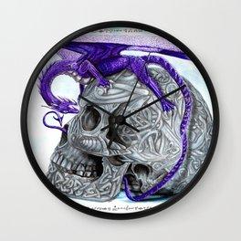 Secret's untolds- purple dragon on celtic skull Wall Clock