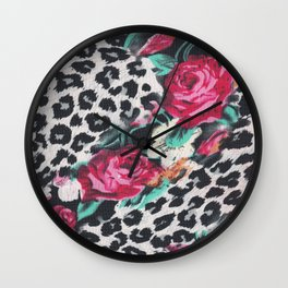 Vintage black white pink floral cheetah animal print Wall Clock