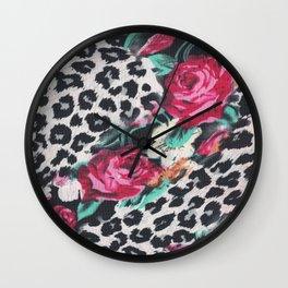Vintage black white pink floral cheetah animal print Wall Clock