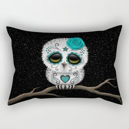 Adorable Teal Blue Day of the Dead Sugar Skull Owl Rectangular Pillow