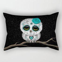 Adorable Teal Blue Day of the Dead Sugar Skull Owl Rectangular Pillow