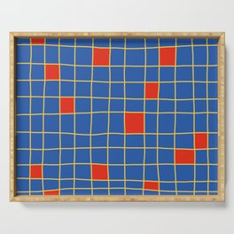 Abstract Red Squares Retro Grid Serving Tray