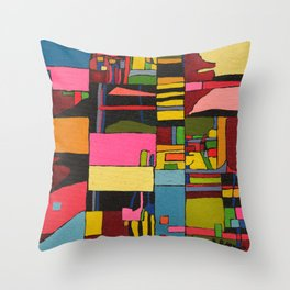 Colors in Collision 2 - Geometric Abstract in Blue Yellow Pink and Green Throw Pillow