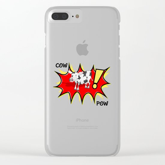 Cow in a KAPOW starburst Clear iPhone Case
