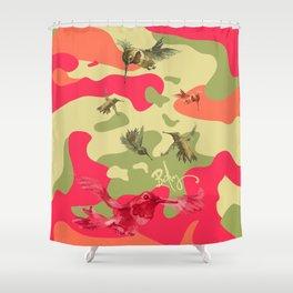 Charming Camo: Hummingbird Camouflage Shower Curtain