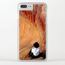 Sitting In Solitude Clear iPhone Case