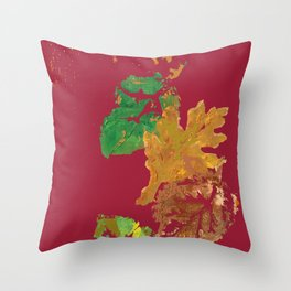 Fall Leaves with Red Background Throw Pillow