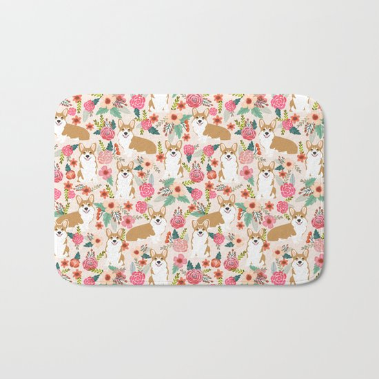Corgi floral spring bloom flowers nature garden dog dog breeds corgis cute corgi puppies love  Bath Mat