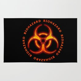 Red Biohazard Warning Rug