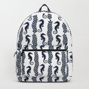 Navy blue and white maritime seahorse pattern by simplicity_of_live