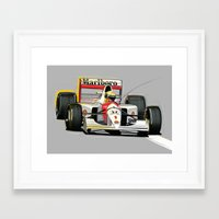senna Framed Art Prints featuring Ayrton Senna by Jack Alexander